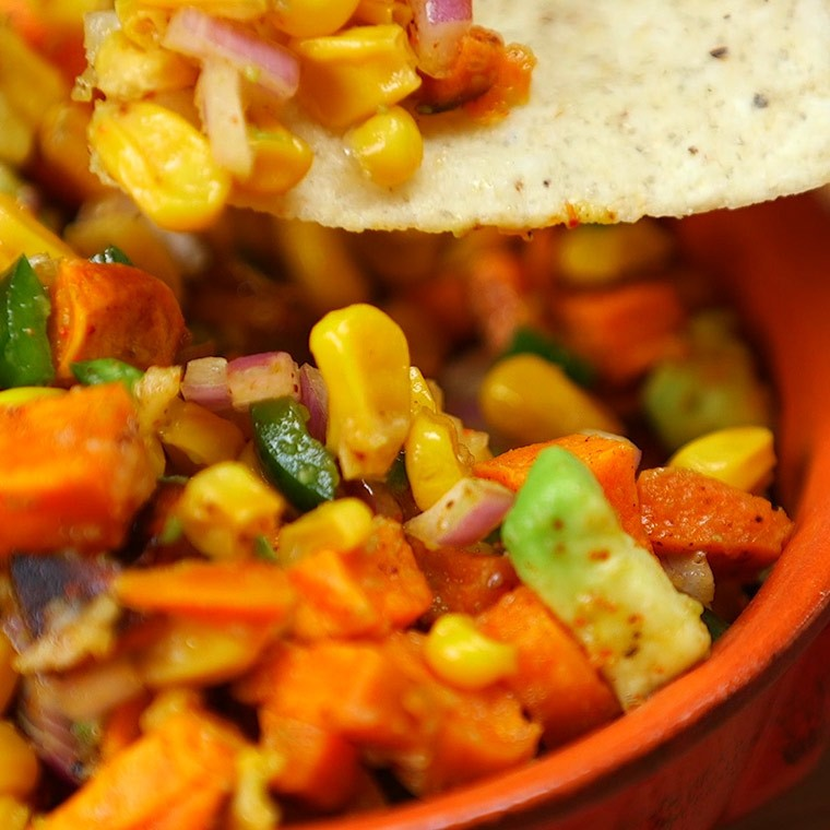 Roasted Sweet Potato Salsa is Perfect for Feeding a Crowd