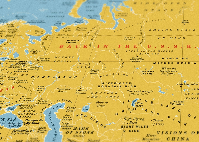 look closely this world map is made up of classic song titles