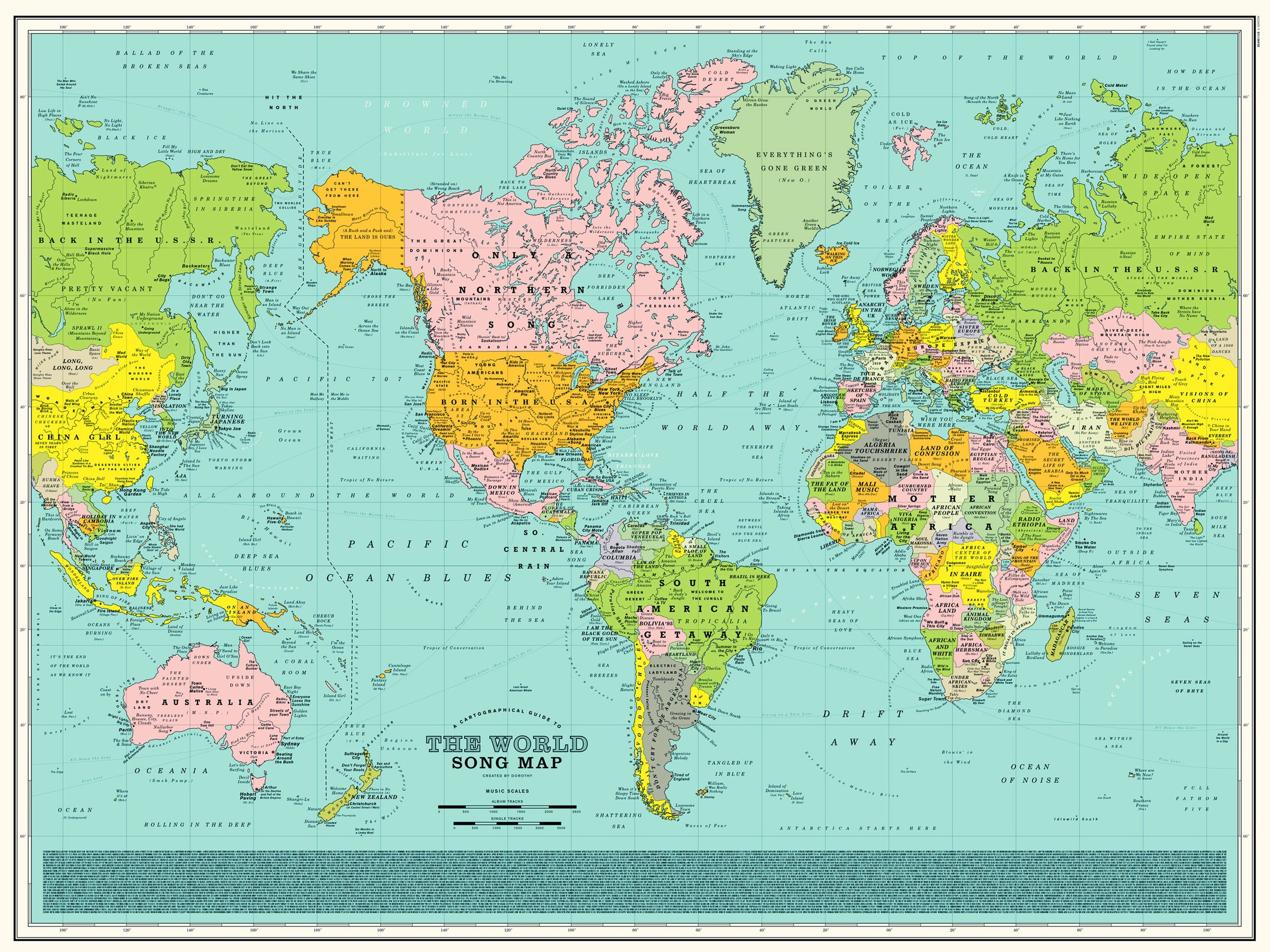 Cartina 1500.Look Closely This World Map Is Made Up Of Classic Song Titles