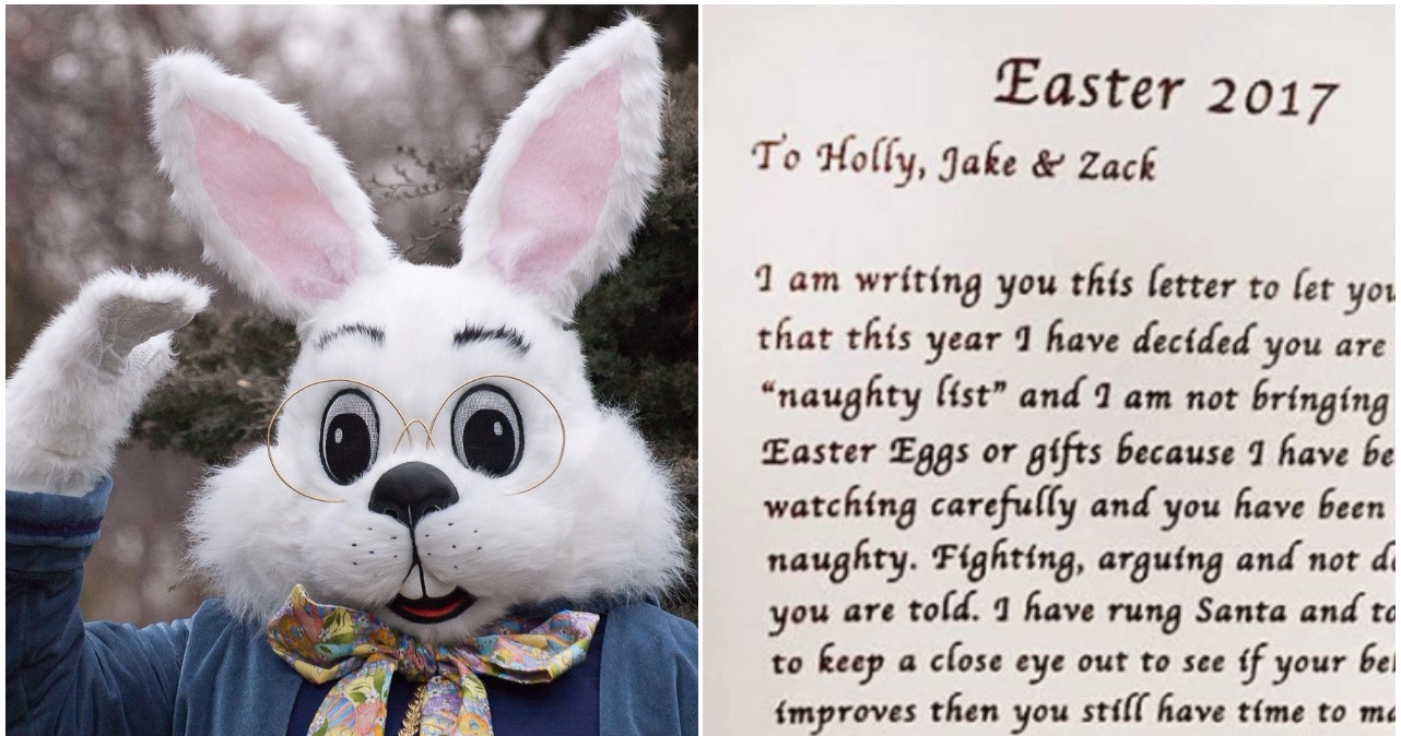 easter bunny leaves hilarious note for naughty kids