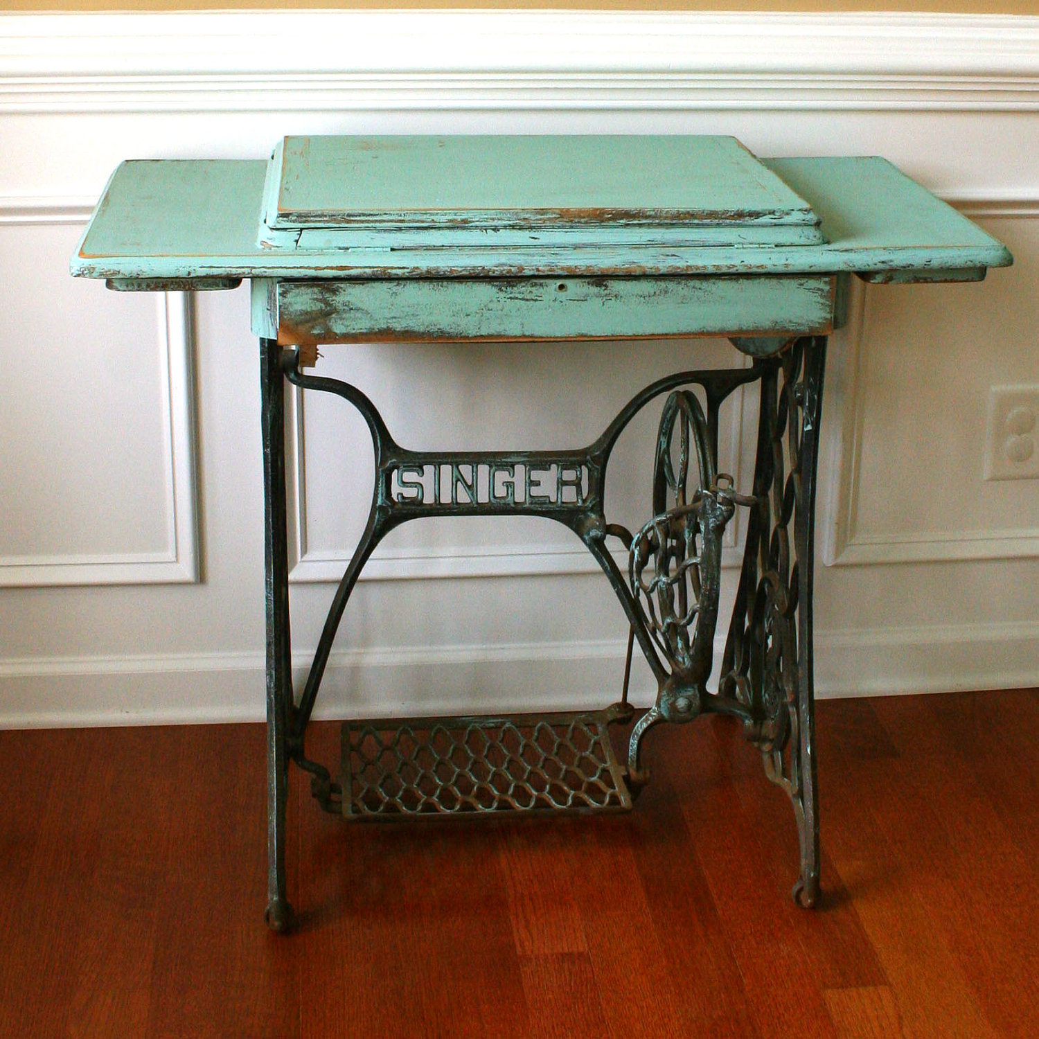 They Were Built So They Had A Spot To Put The Sewing Machine Into, And  Instead Of A Plastic Pedal It Was Built Right Into The Table!