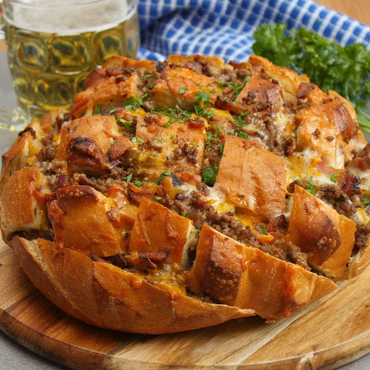 Cheesy Pull Apart Bread: Bake Up Some Cheesy Bacon Burger Pull Apart Bread For An