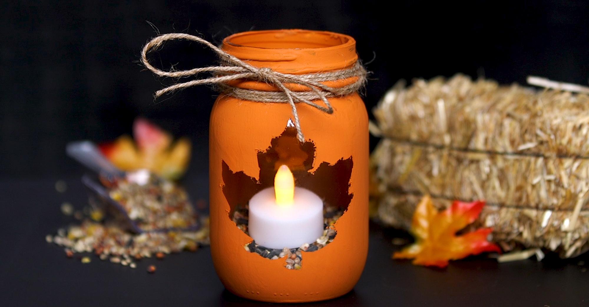 Diy This Easy To Make Autumn Leaf Mason Jar Candle Holder