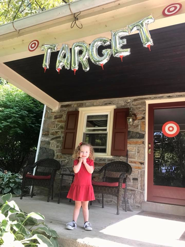 Charlie with Target sign