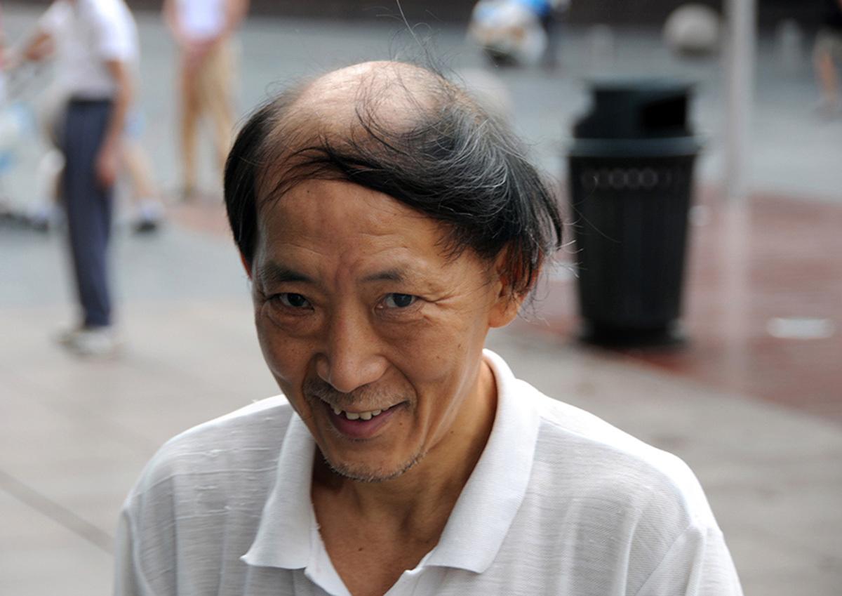 A bald man