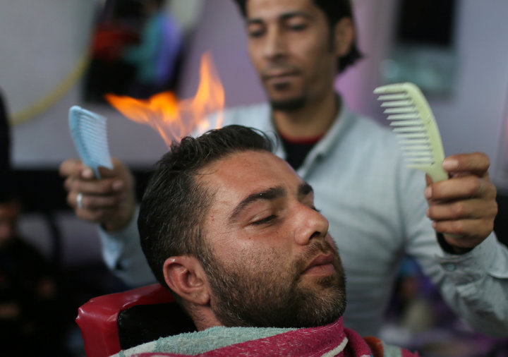 A haircut by blow torch
