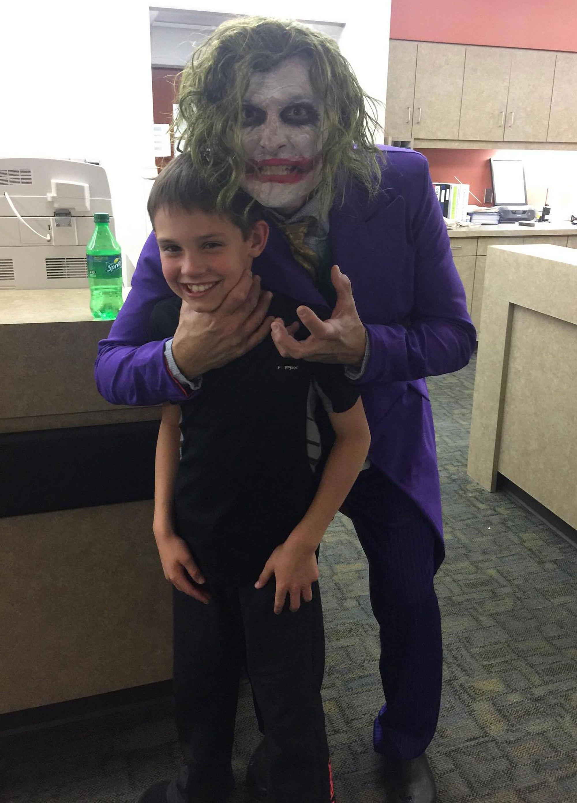 Dr. Locus dressed as The Joker