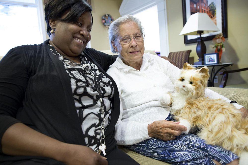 A senior and caregiver with a robotic cat