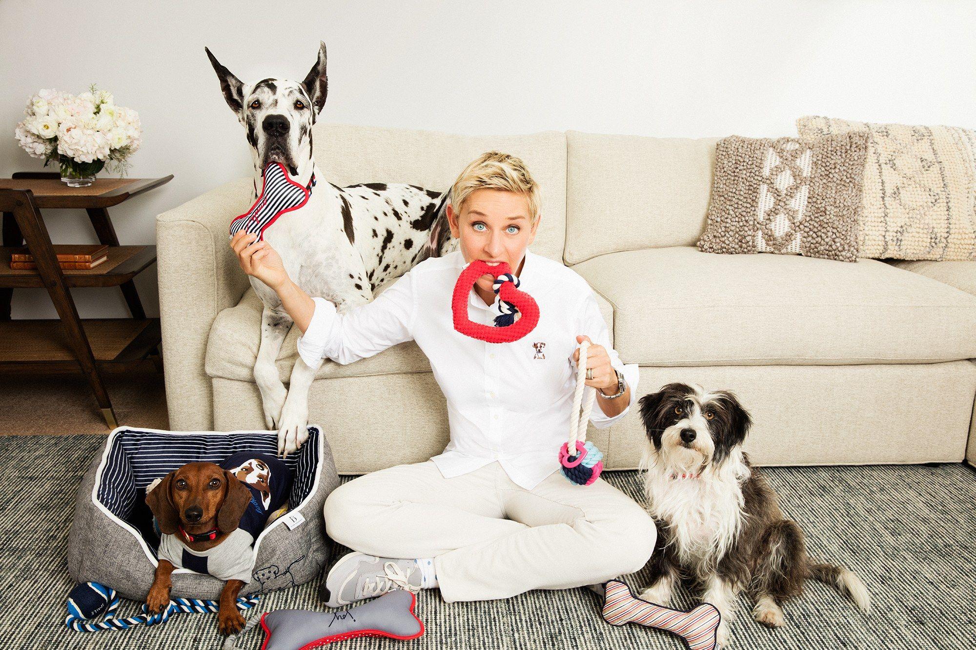 Ellen DeGeneres and her dogs