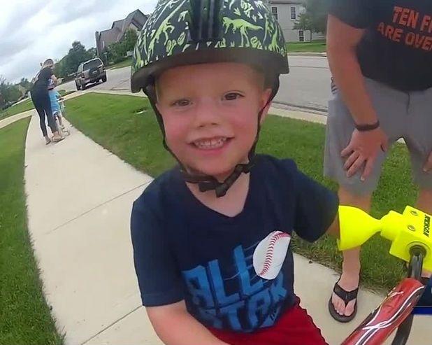 Hudson Borton riding his bike
