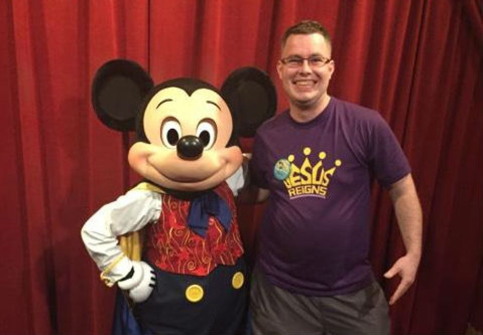 Kevin Swayzie and Mickey Mouse