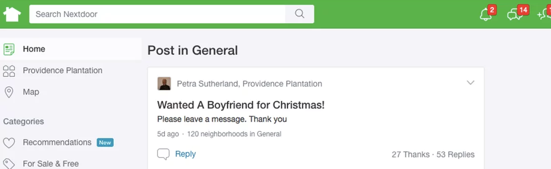 Nextdoor.com Message