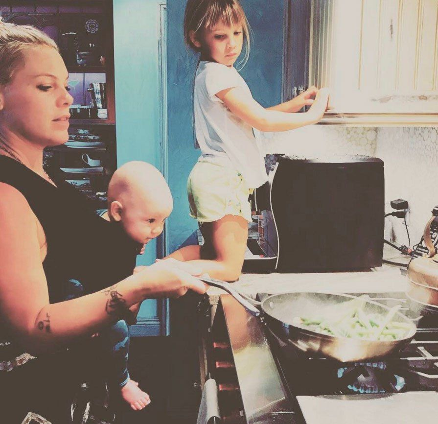 Pink with her children