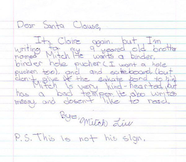 15 letters from santa that definitely put kids on his naughty list 4 mitch is very kind hearted but has a bad temper spiritdancerdesigns Gallery