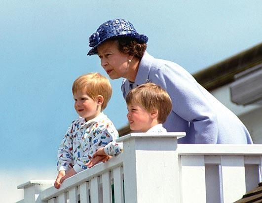 The Queen, Prince William and Prince Harry