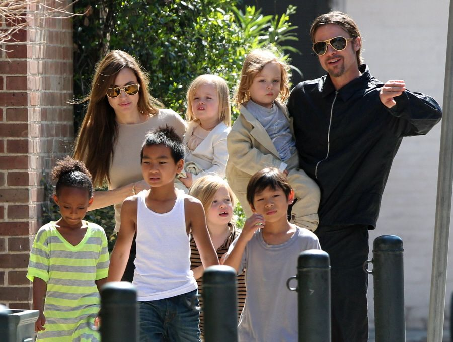 Brad Pitt, Angelina Jolie, and family