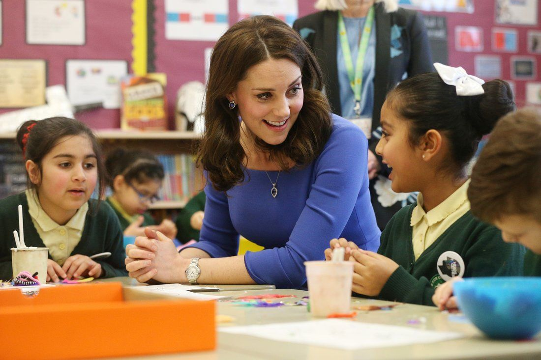 Kate Middleton with students