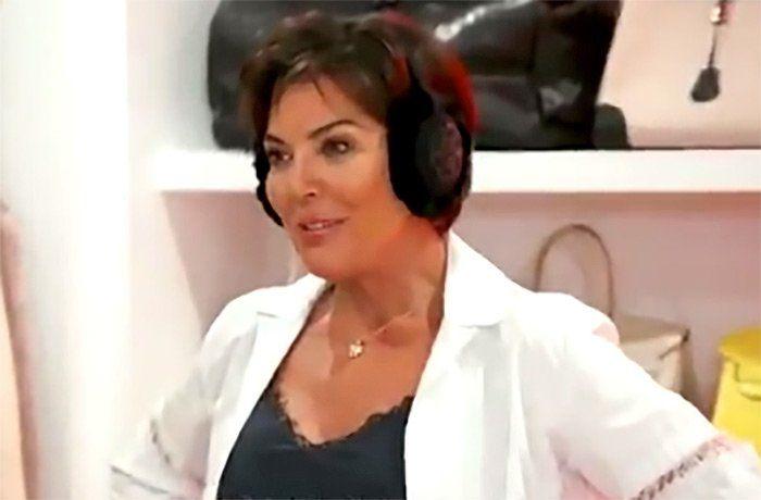 Kris Jenner wearing earmuffs