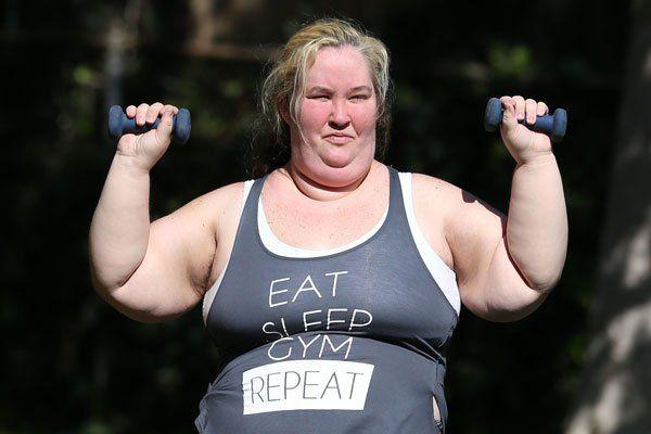 Mama June lifting weights