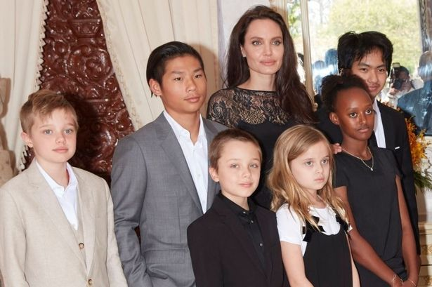 Angelina Jolie and her children