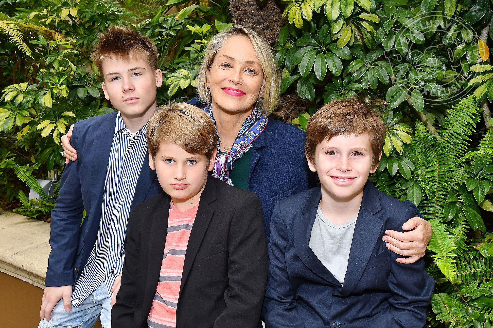 Sharon Stone with her sons