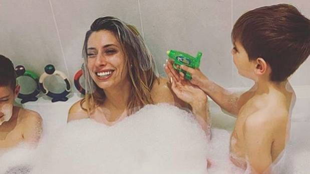 Mom takes shower with son