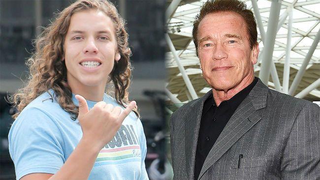 Joseph Baena and Arnold Schwarzenegger.