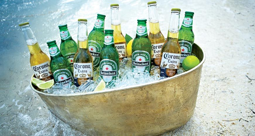 Beer in a bucket of ice