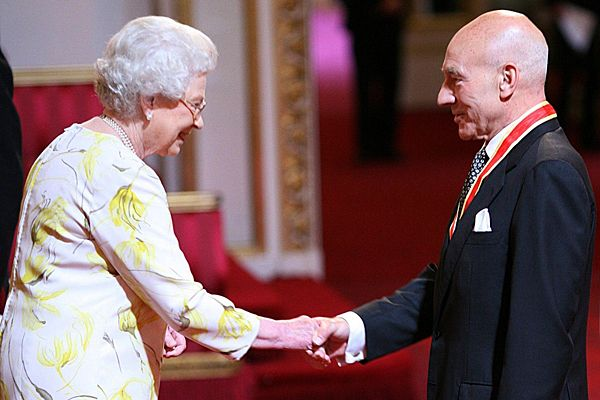 The Queen shakes hands with a newly knighted Patrick Stewart