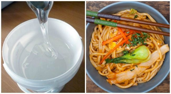 Side by side of glucose syrup and Chinese noodles