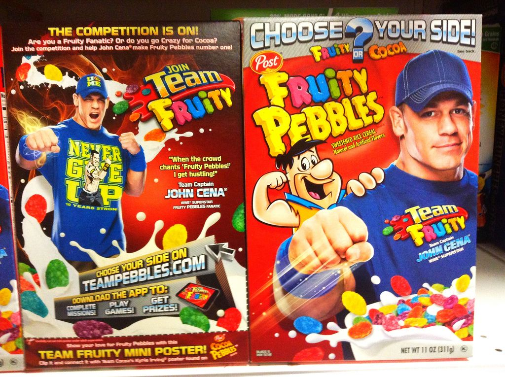 John Cena on a Fruity Pebbles box