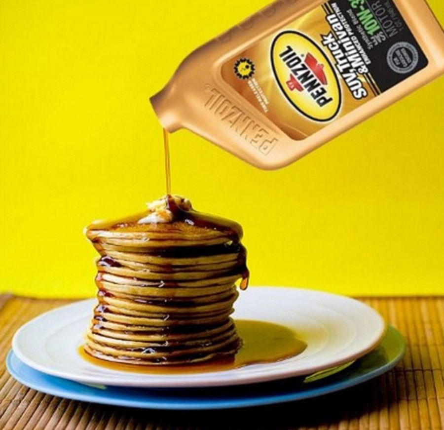 Motor oil is drizzled on pancakes