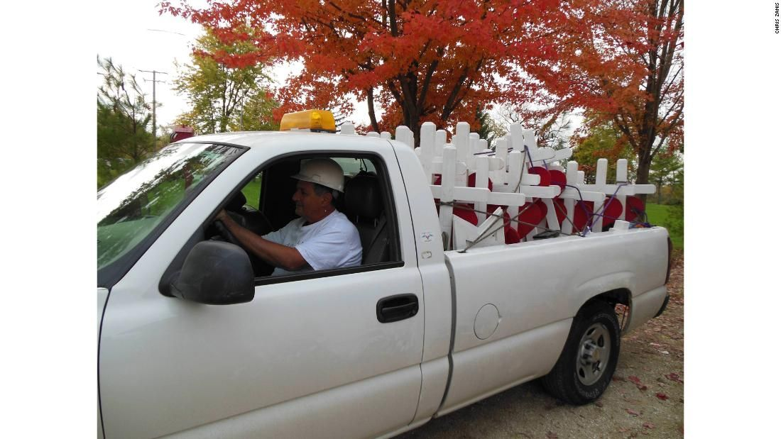 Greg Zarin and the crosses in his pickup truck