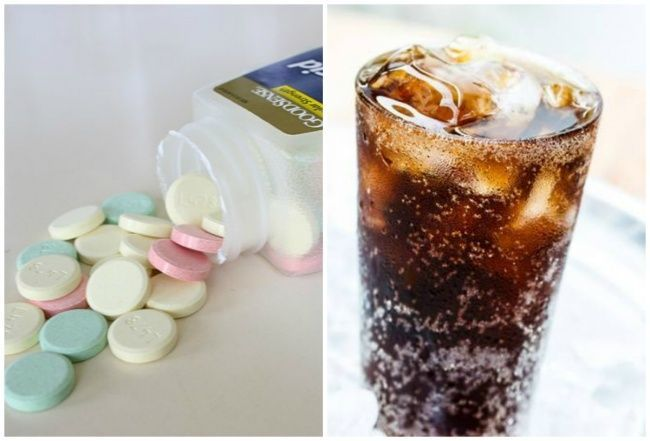 Side by side images of antacids and pop
