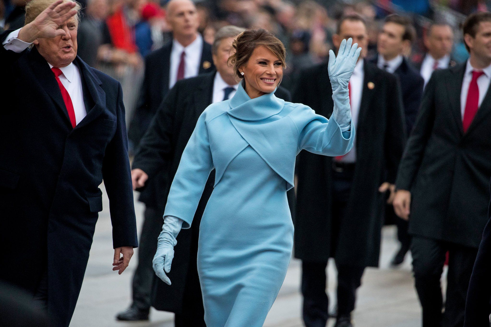 Melania waves to people during Inauguration Day