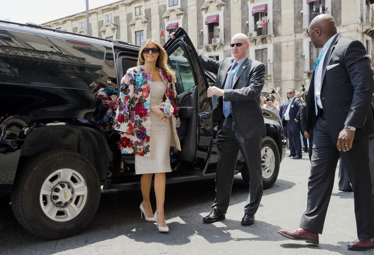 Melania Trump arriving at the City Hall in Italy