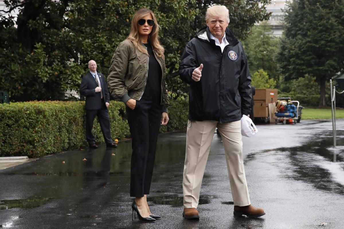Melania at the Marine One on the South Lawn