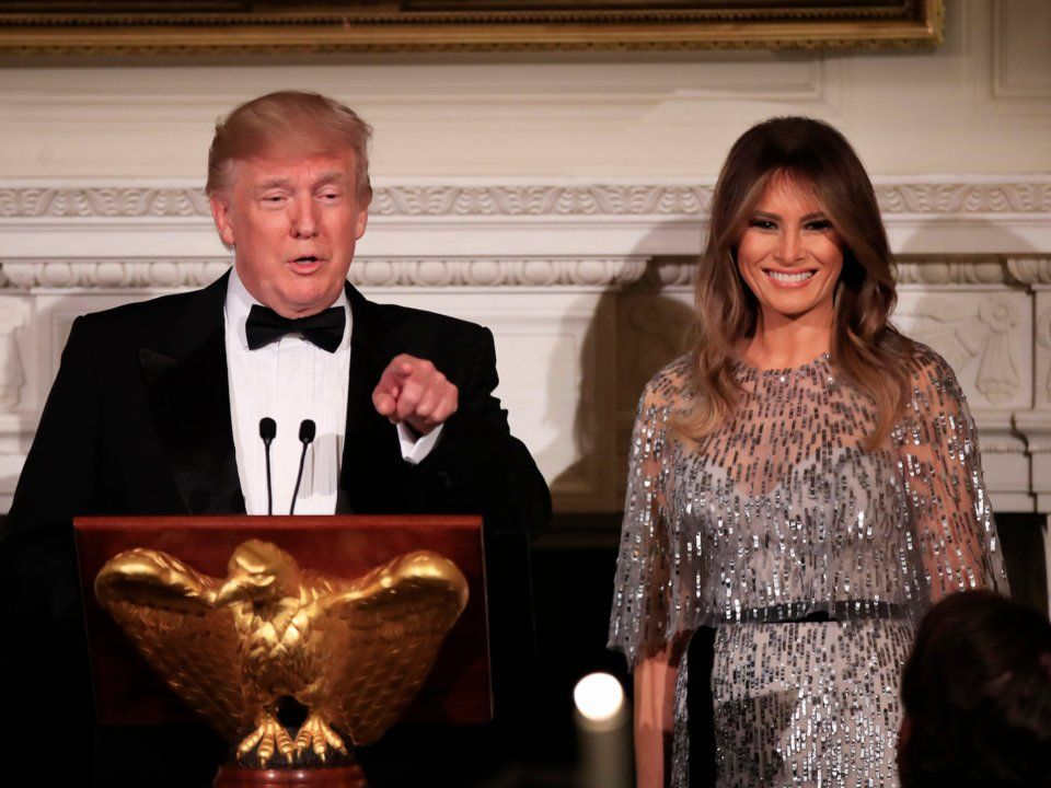 Melania at a black tie dinner at the White House