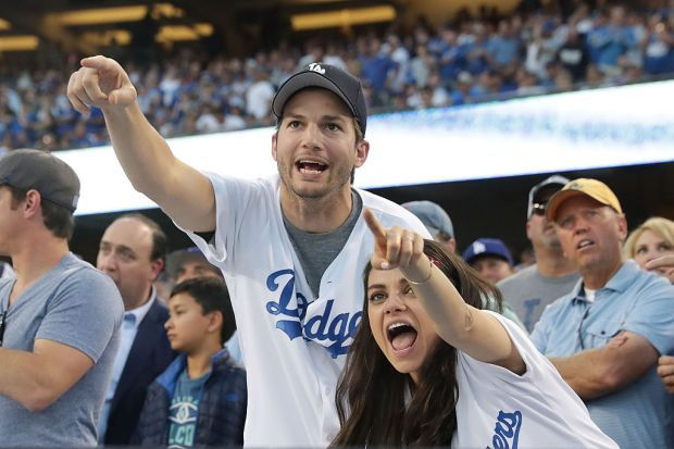 Ashton and Mila at a Dodger's game
