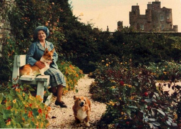 The Queen mother and her corgis