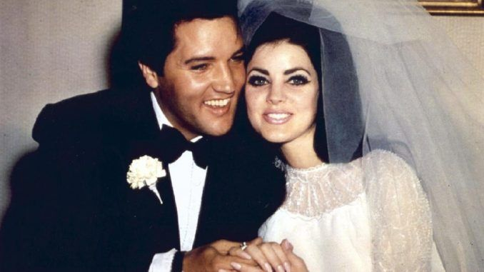 Priscilla and Elvis on their wedding day