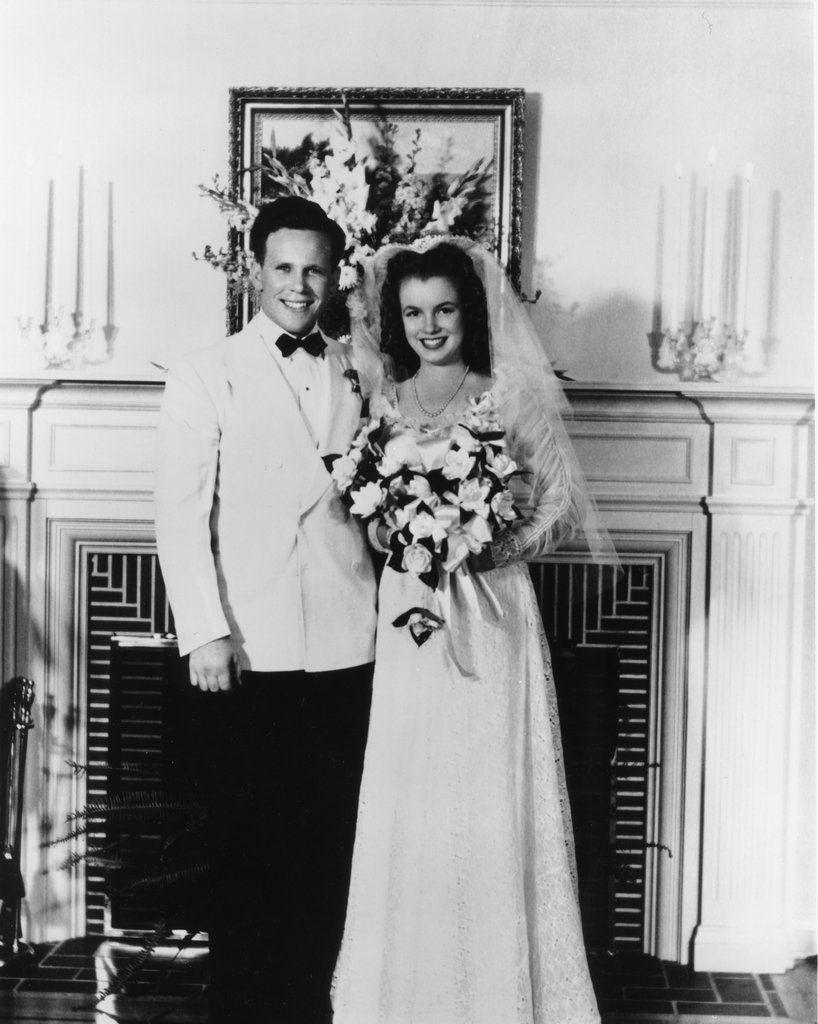 Marilyn Monroe on her wedding day to James Dougherty
