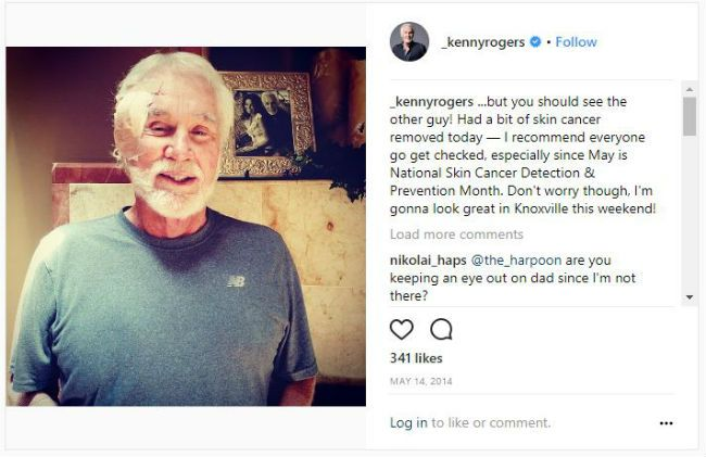 Kenny Rogers skin cancer photo Instagram.