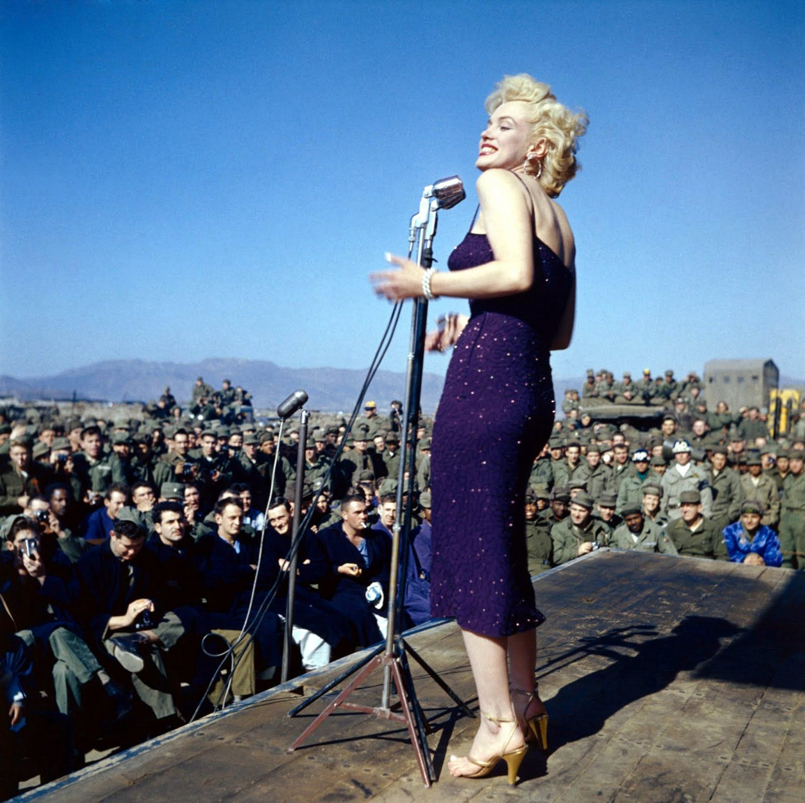 Marilyn Monroe singing to the troops