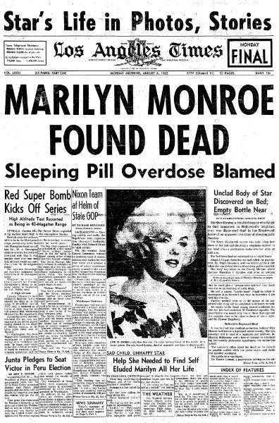 Marilyn Monroe death newspaper
