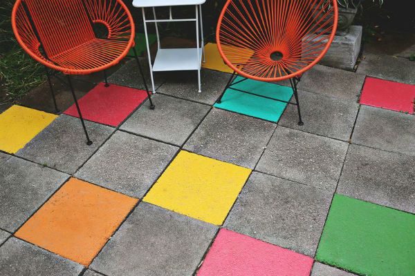 Painted paving stones