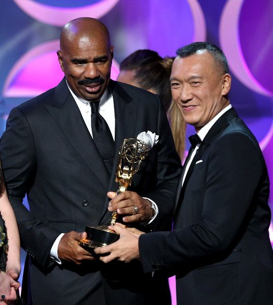 Steve Harvey accepting an Emmy Award