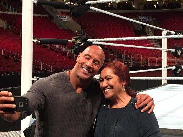 Dwayne Johnson and his mother Ata Johnson.