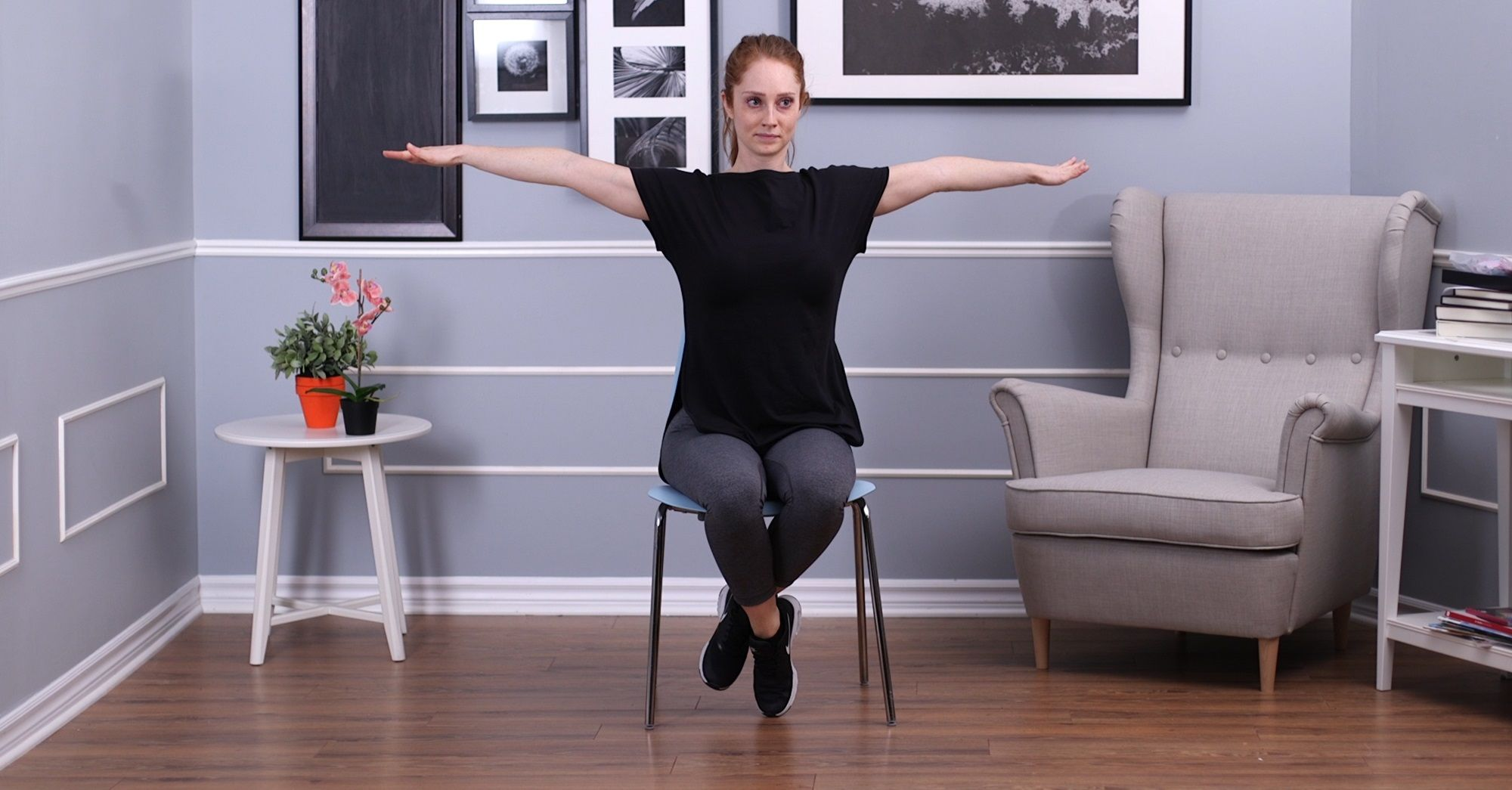 Woman doing arm cirlces