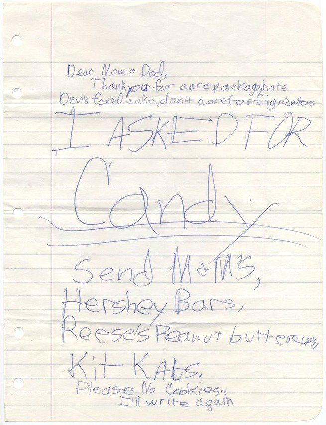 camp note asking for candy